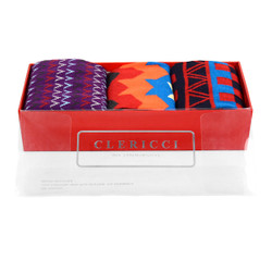 Fancy Multi Colored Socks Gift Red Box (3 paris in Box)  SGBL21