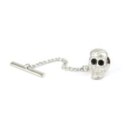 12pc Ancient Skull with Ebony Eye Crystals Rhodium Tie Tack TT4110