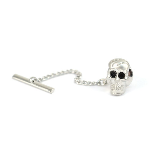 12pc Ancient Skull with Ebony Eye Crystals Rhodium Tie Tack TT4110