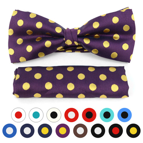 3pc Prepack Men's Big & Tall Banded Polka Dots Bow Tie and Matching Hanky Set BTH6001