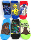 Star Wars 6 Pack Kids Low Socks Shoe Size 5-9 Cartoon Art