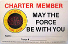 1981 Star Wars MTFBWY Fan Club Charter Member card