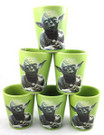 Star Wars Set of 6 Yoda MTFBWY Ceramic Shot Glasses