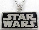 Star Wars SW Logo Metal Chrome / Black Color Pendant Necklace
