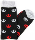 Star Wars Grey & Red Rebel Logos Men's Crew Socks Shoe Size 6-12