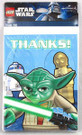 Star Wars Lego Party Thank You Cards w/ Yoda, R2-D2, C-3PO 8 pack