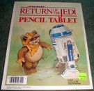 1983 Star Wars ROTJ Pencil Tablet, Wicket & R2D2 notepad, unused