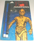 1983 Star Wars ROTJ logo black, blue markers on C-3PO card