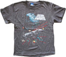 Star Wars Kids Death Star Millennium Falcon Space Battle Grey T-Shirt Size S
