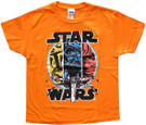 Star Wars Kids Classic Fett Vader Luke Orange T-Shirt Size 7