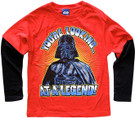Star Wars Kids Darth Vader Looking at a Legend Red Long Sleeve T-Shirt Size 7