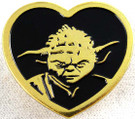 Star Wars Yoda Gold Heart Shaped Pin 1 inch