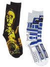 Star Wars C-3PO/R2-D2 Men's Crew 2 Pack Socks Shoe Size 6-12