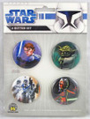Star Wars Clone Wars Set of 4 Buttons Ahsoka, Yoda, Anakin