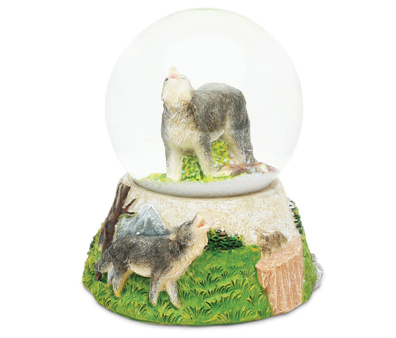 Stone Snow Globe Wolf