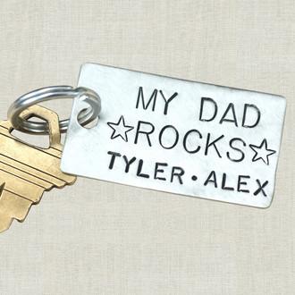My Dad Rocks Keychain