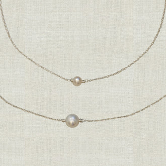Mother Daughter Single Pearl Necklace