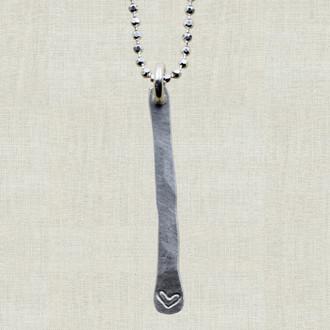 Hammered Bar Heart Necklace