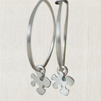 Autism Awareness Puzzle Piece Hoop Earrings