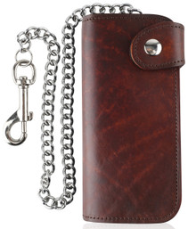 F&L CLASSIC RFID Blocking Men's Bifold Vintage Long Style Cow Top Grain Leather Steel Chain Wallet,Made In USA,Snap closure,Brown