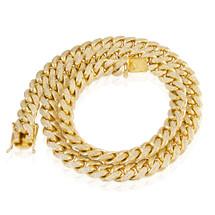 10k Yellow Gold 15.2ct Diamond 12.5mm Cuban Link Chain 29in