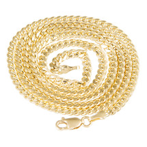 10k Yellow Gold 3.5mm Micro Cuban Link Chain 28in