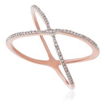 14K Rose Gold .15ct Diamond Criss Cross Ring