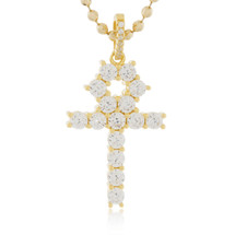 Yellow Sterling Silver Sapphire Crystal Micro Cross Pendant