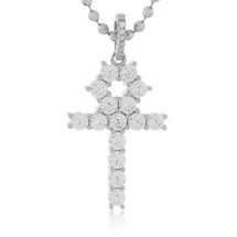 Sterling Silver Sapphire Crystal Micro Cross Pendant