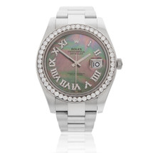 Rolex DateJust Stainless Steel Mother of Pearl 3ct Diamond Bezel Watch