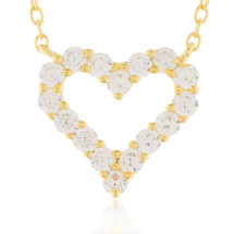 Yellow Sterling Silver Sapphire Micro Heart Necklace