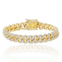 10k Yellow Gold 10.5ct Diamond Cuban Bracelet