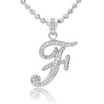 Silver With Sapphire Micro 'F' Pendant