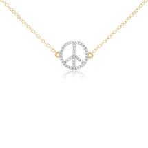 14k Yellow Gold .10ct Diamond Peace Sign Pendant