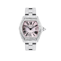 Cartier Roadster Pink Face 12.5ct Diamond Watch