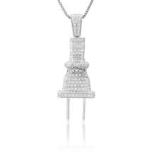 10k White Gold 3.25ct White Diamond Plug Pendant