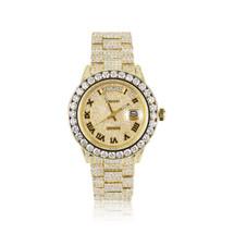 Rolex Day-Date 18k Yellow Gold 30ct Roman Numeral Diamond Watch