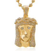 10k Yellow Gold 3.75ct Jesus Head Pendant