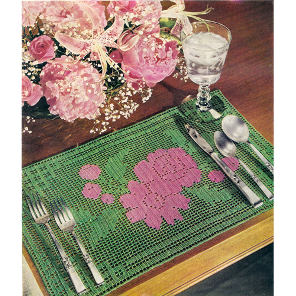 Filet Crochet Mats Pattern in Rose Motif