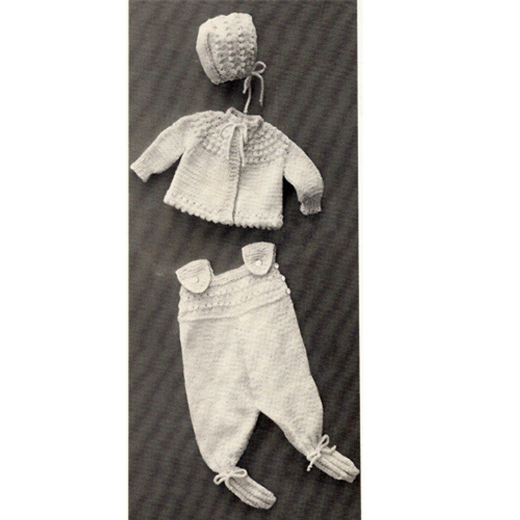 Baby Knitted Leggings Pattern with Jacket Bonnet