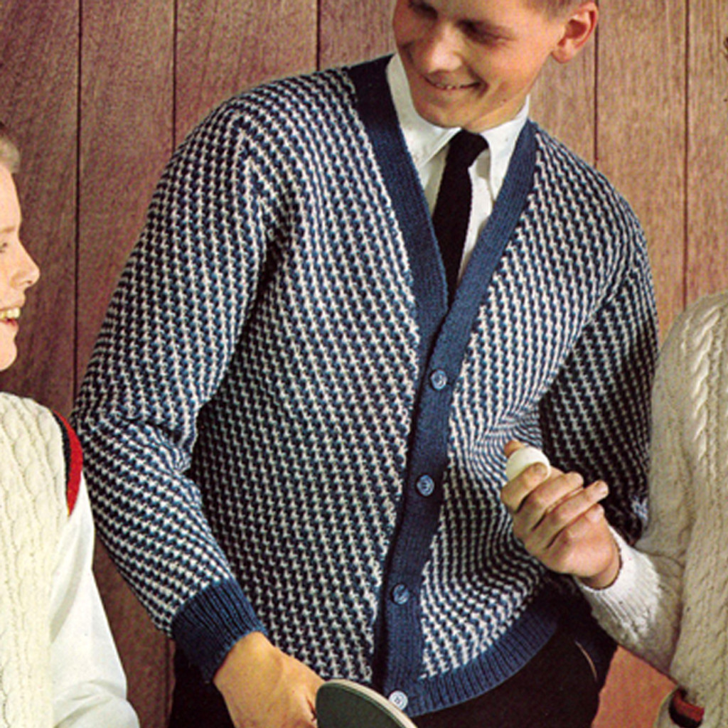 Boys Knitted Checked Cardigan Pattern