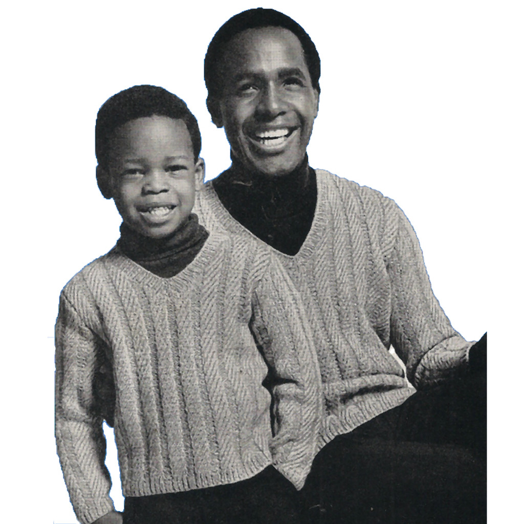Father Son Knitting Pattern, V-Neck Pullovers