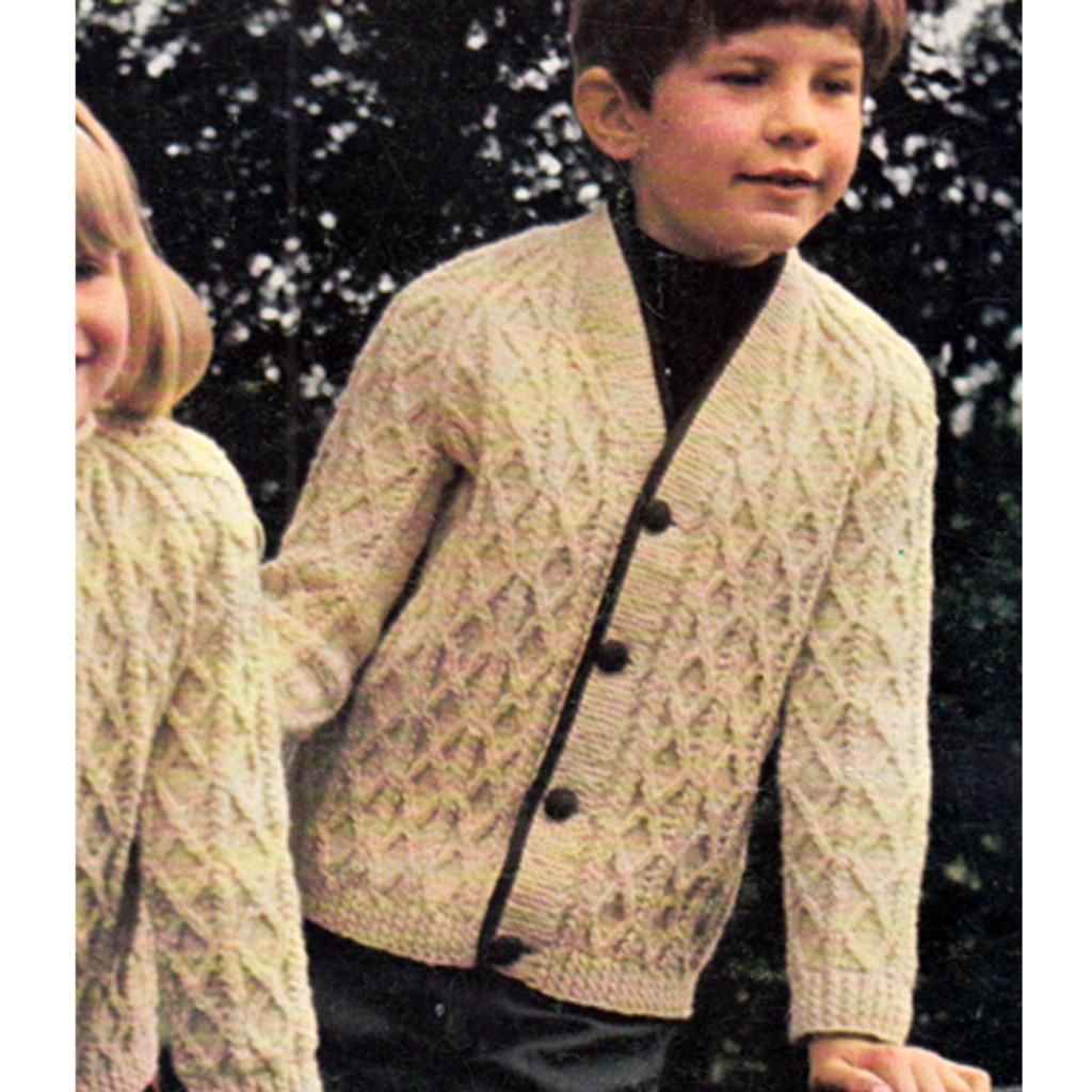 Boys Knitted Fisherman Cardigan Pattern, Vintage 1950s