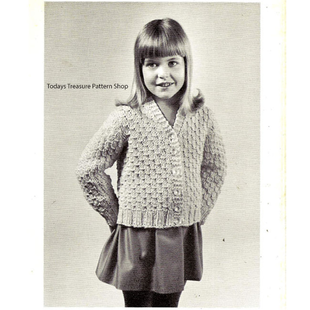 Girls Vintage Cardigan Knitting Pattern