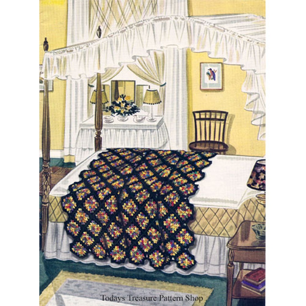 Vintage Diamond Block Crochet Afghan Pattern