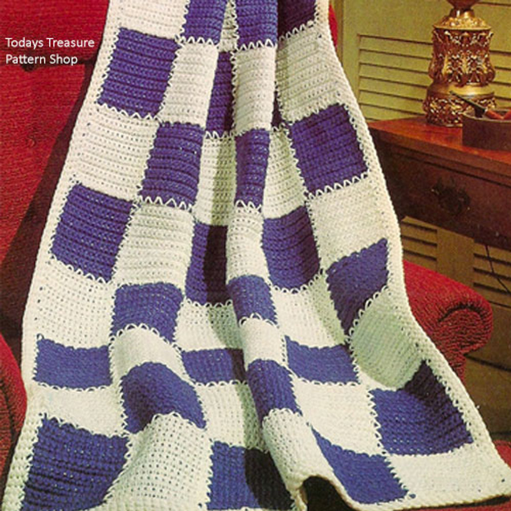 Beginners Checkerboard Afghan Crochet Pattern
