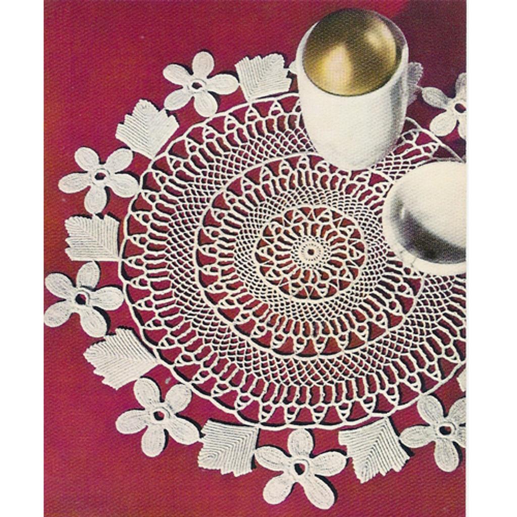 Vintage Rose Wreath Crochet Doily Pattern
