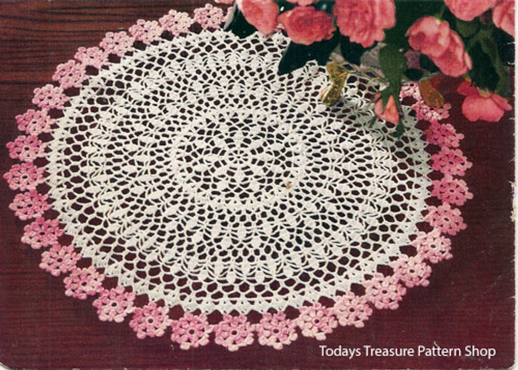 Pink Flower Doily Crochet Pattern