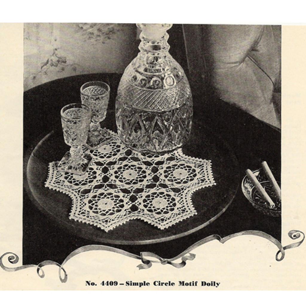 Crocheted Flower Medallion Doily Pattern, Vintage 1940s