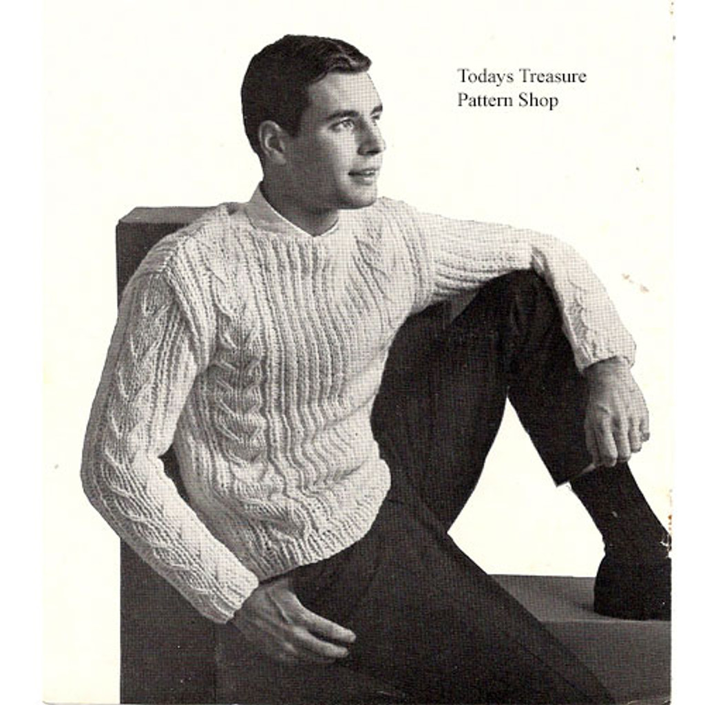 Mans Knitted Pullover Pattern in Cable Stitch